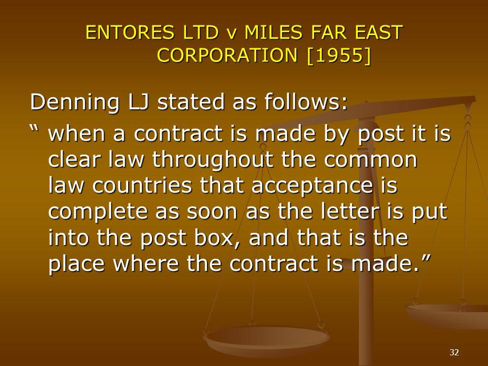 ENTORES LTD v MILES FAR EAST CORPORATION [1955]